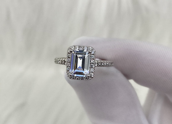 Sterling Silver Rectangle Stone Ring