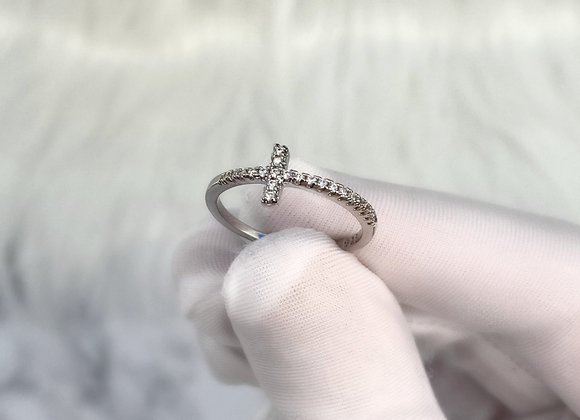 Dainty Silver Cross Ring