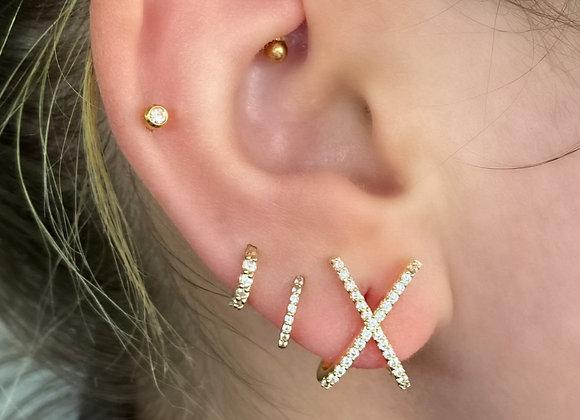 Cross Over Gold Earrings