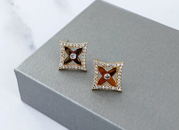 Diamond Gold Sparkle Studs
