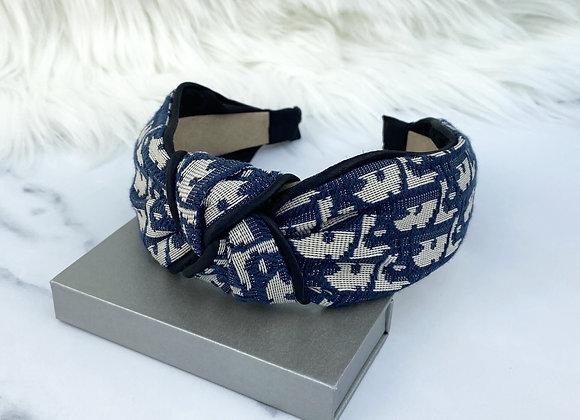 Navy Print Headband