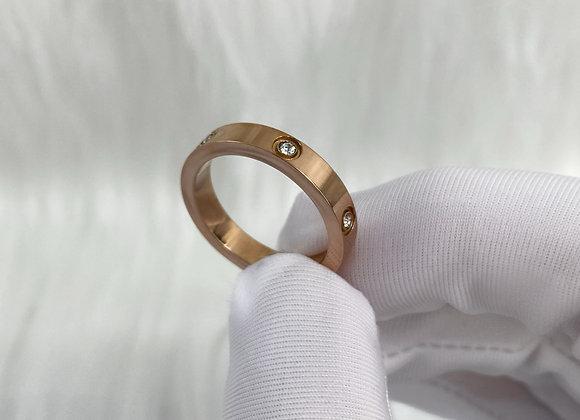 Rose Gold Diamante Ring 4mm