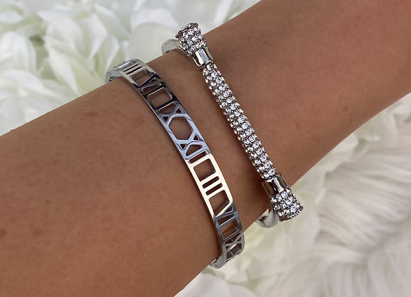 Silver Plated Diamante Bar Bangle