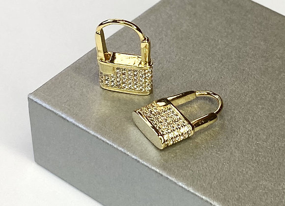 Padlock Diamante Huggie Earrings