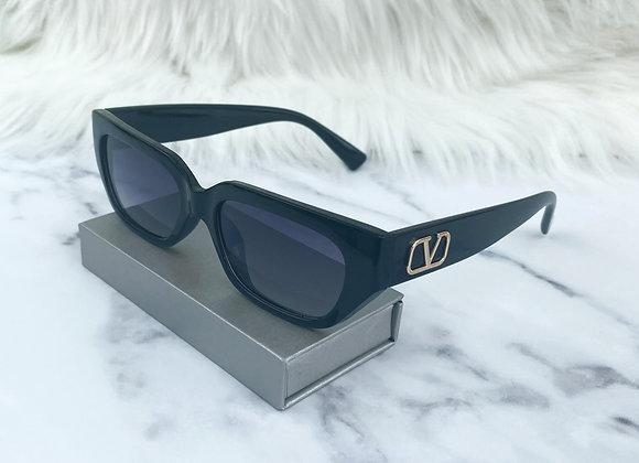 Black & Gold V Half Sunglasses