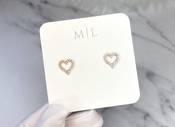 Rose Gold Diamante Heart Studs