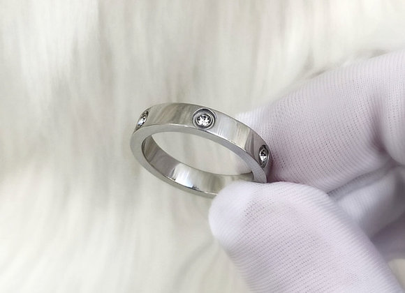 Diamante Silver Ring 4mm