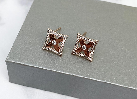 Diamond Rose Gold Sparkle Studs