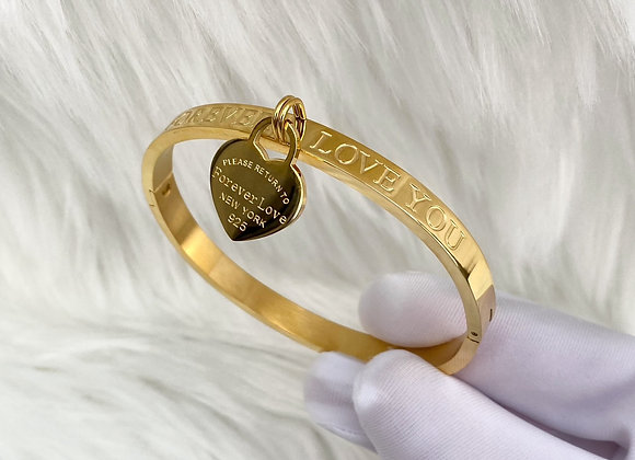 'Forever Love' Gold Plated Bangle