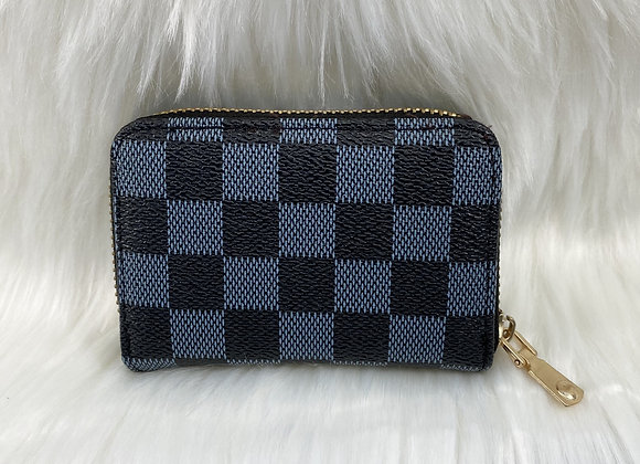 Black Check Card Wallet