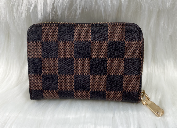 Brown Check Card Wallet