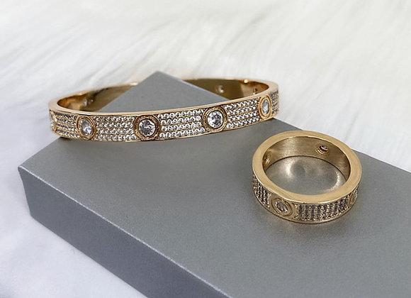 Angel Bangle & Ring Gold Set