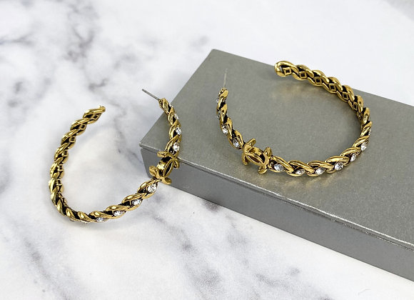Gold Stone C Hoop Earrings