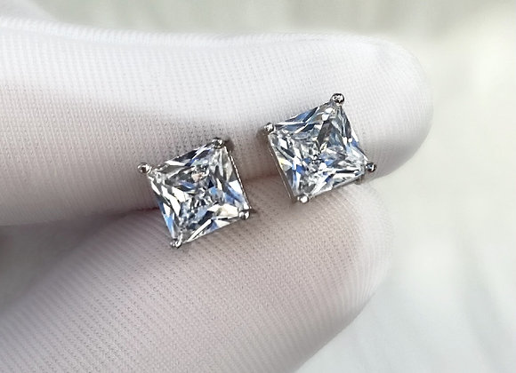 Sterling Silver Dainty Square Stone Studs