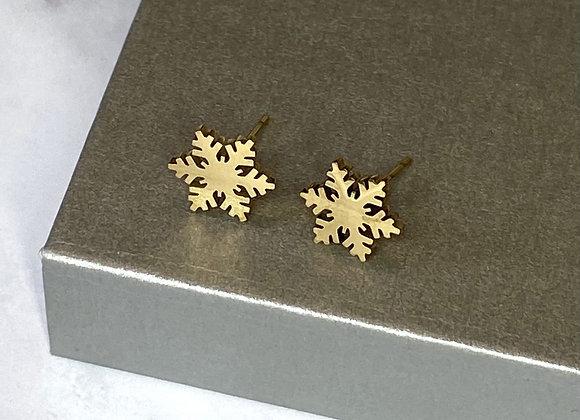 Gold Snowflake Cut Earrings