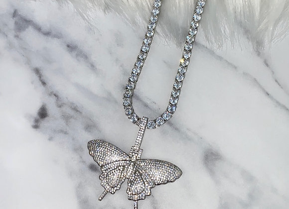Ice Butterfly Charm Necklace