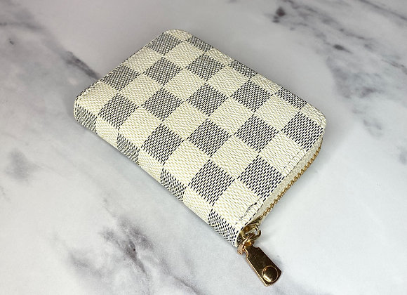 White Check Card Wallet