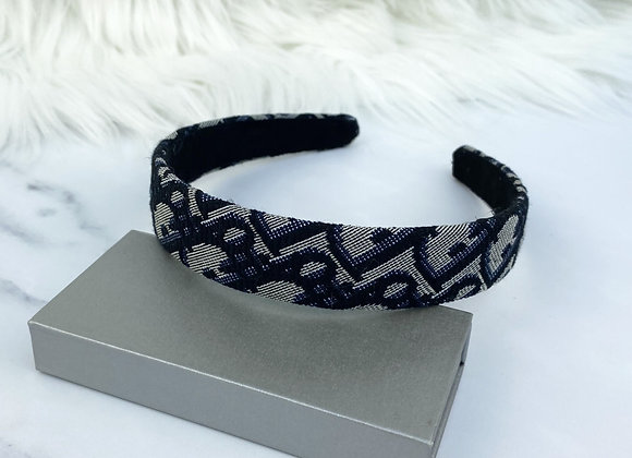Navy Print Hairband