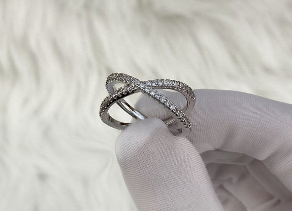 Silver Crossed Ring