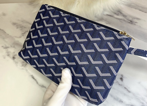 Navy Printed Clutch Bag Pouch