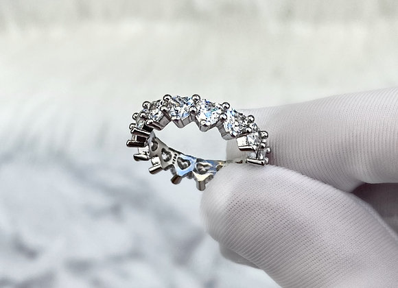 Sterling Silver Heart Ice Ring