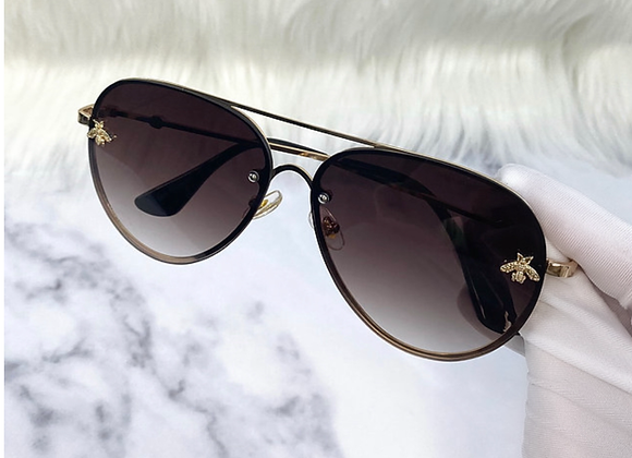 Brown Aviator Bug Sunglasses