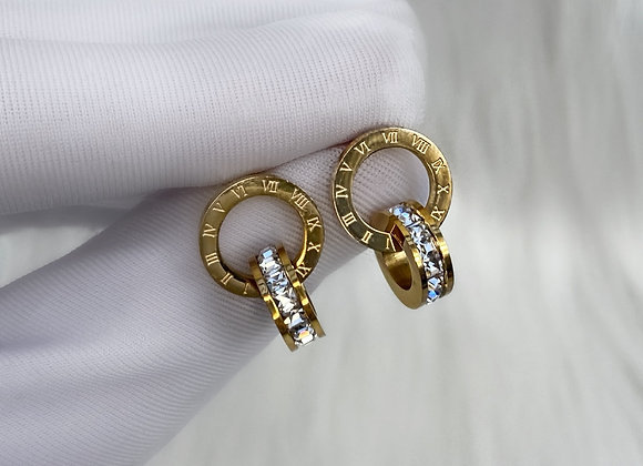 Gold Numeral Earrings