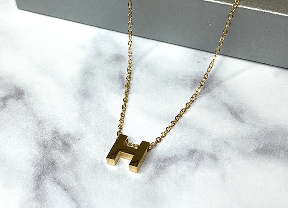 H Gold Dainty Necklace