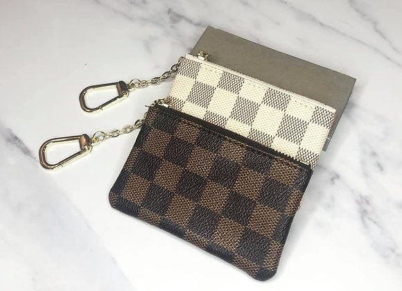 Brown Check Keyring Pouch