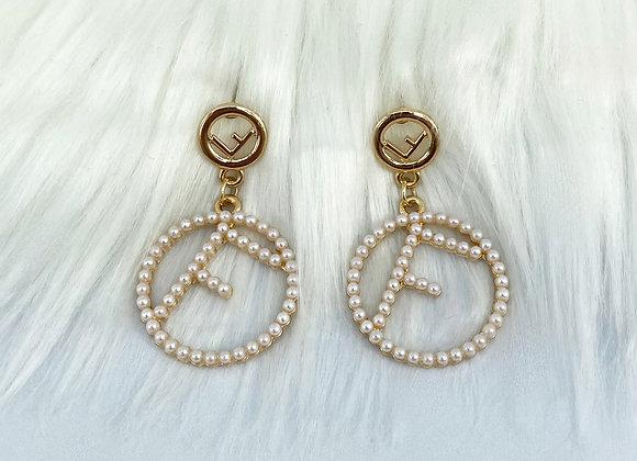 Pearl F Drop Down Earrings