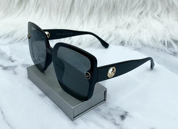 Oversized Black F Sunglasses