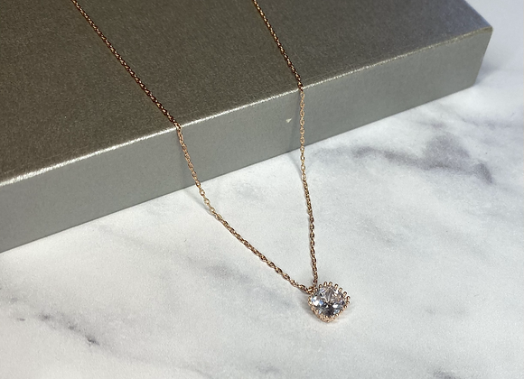 Rose Gold Small Stone Necklace