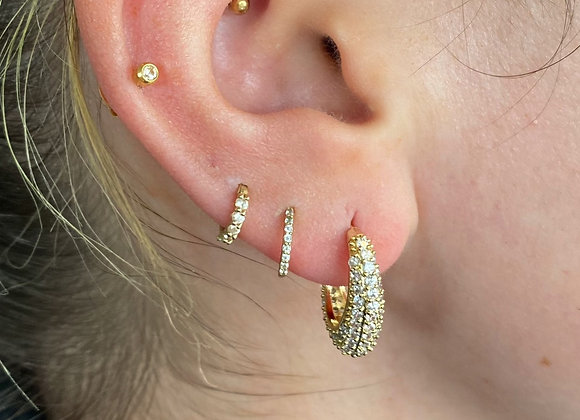 Oval Stone Gold Hoops