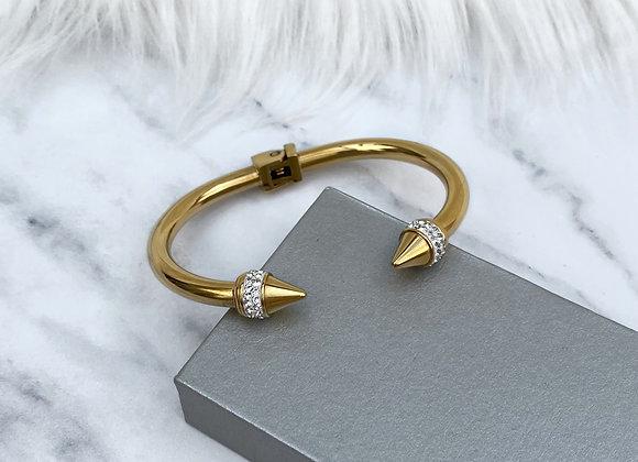 Gold Stone Cuff Bangle