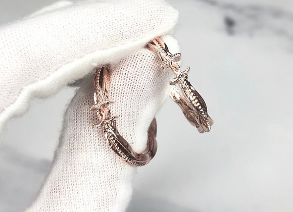 Twisted Rose Gold C Hoops