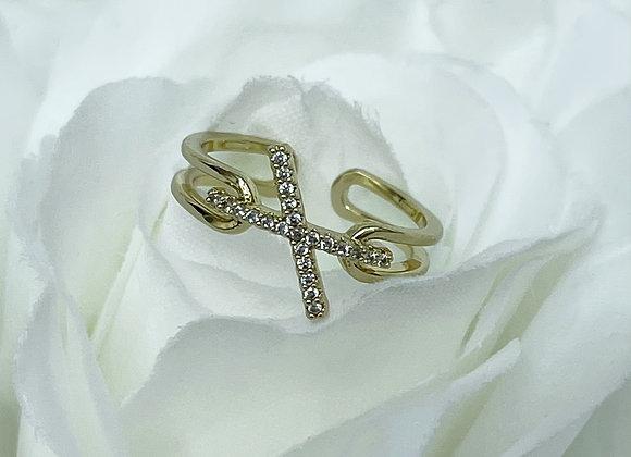 Gold Cross Over Ring