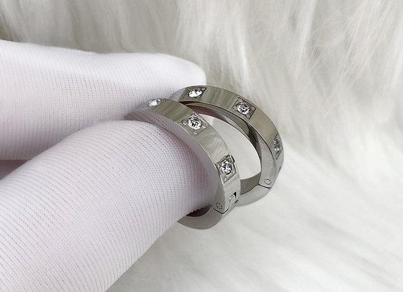Silver Diamante Hoops