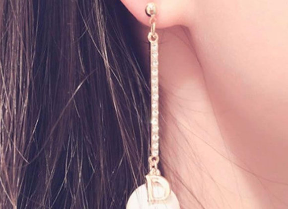 Pearl 'D' Charm Earrings