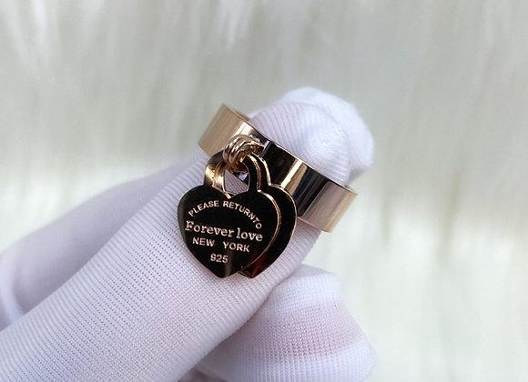 Rose Gold 'Forever Love' Charm Ring