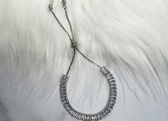 Silver Adjustable Crystal Bracelet