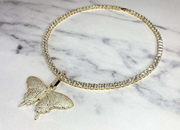 Ice Butterfly Gold Charm Necklace