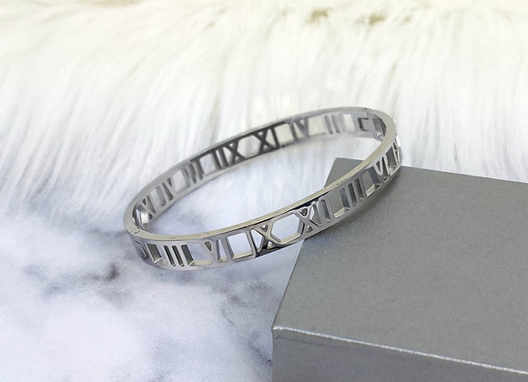 Silver Numeral Bangle 7mm
