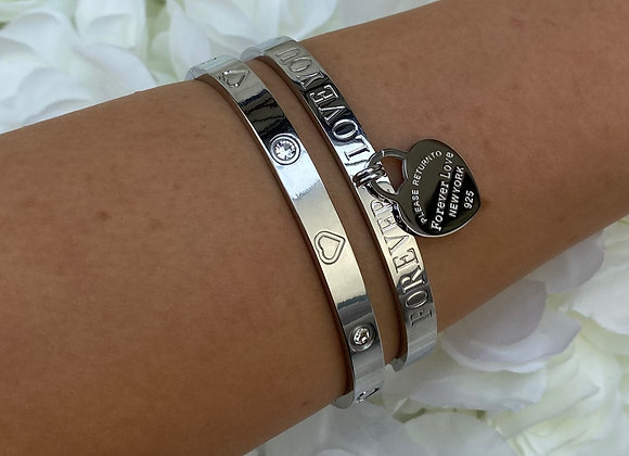 'Forever Love' Silver Plated Bangles