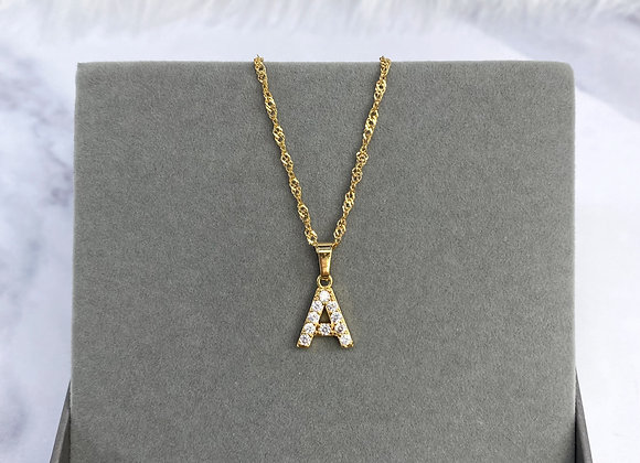 Initial Gold Stone Necklace