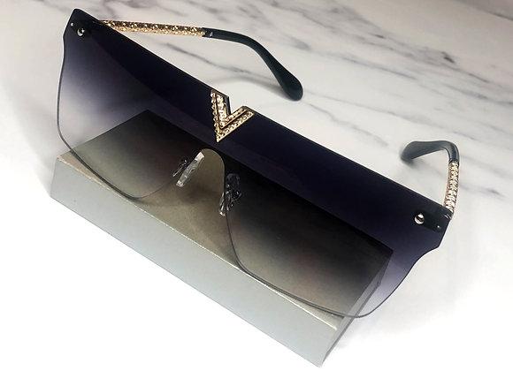 Diamante V Navy Sunglasses