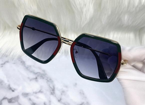 Polygon Stripe Oversized Sunglasses