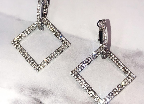 Diamond Drop Silver Diamante Earrings