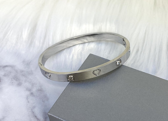 Heart  Diamante Silver Bangle
