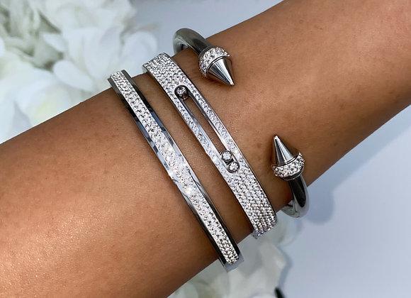 Silver Stone Cuff Bangle