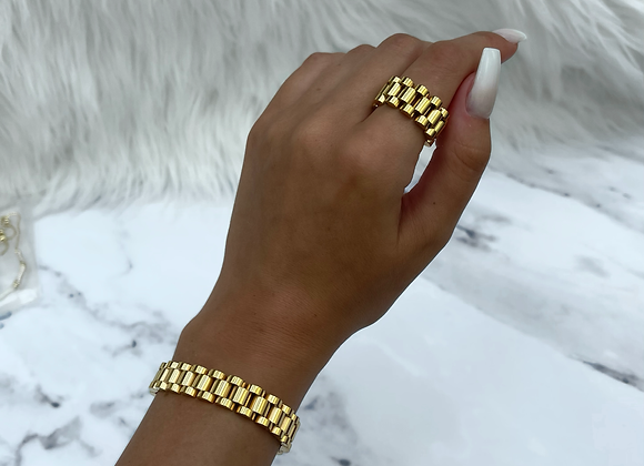 Gold Plated Link Ring